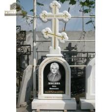 Памятник (крест) из белого мрамора №8 — ritualum.ru